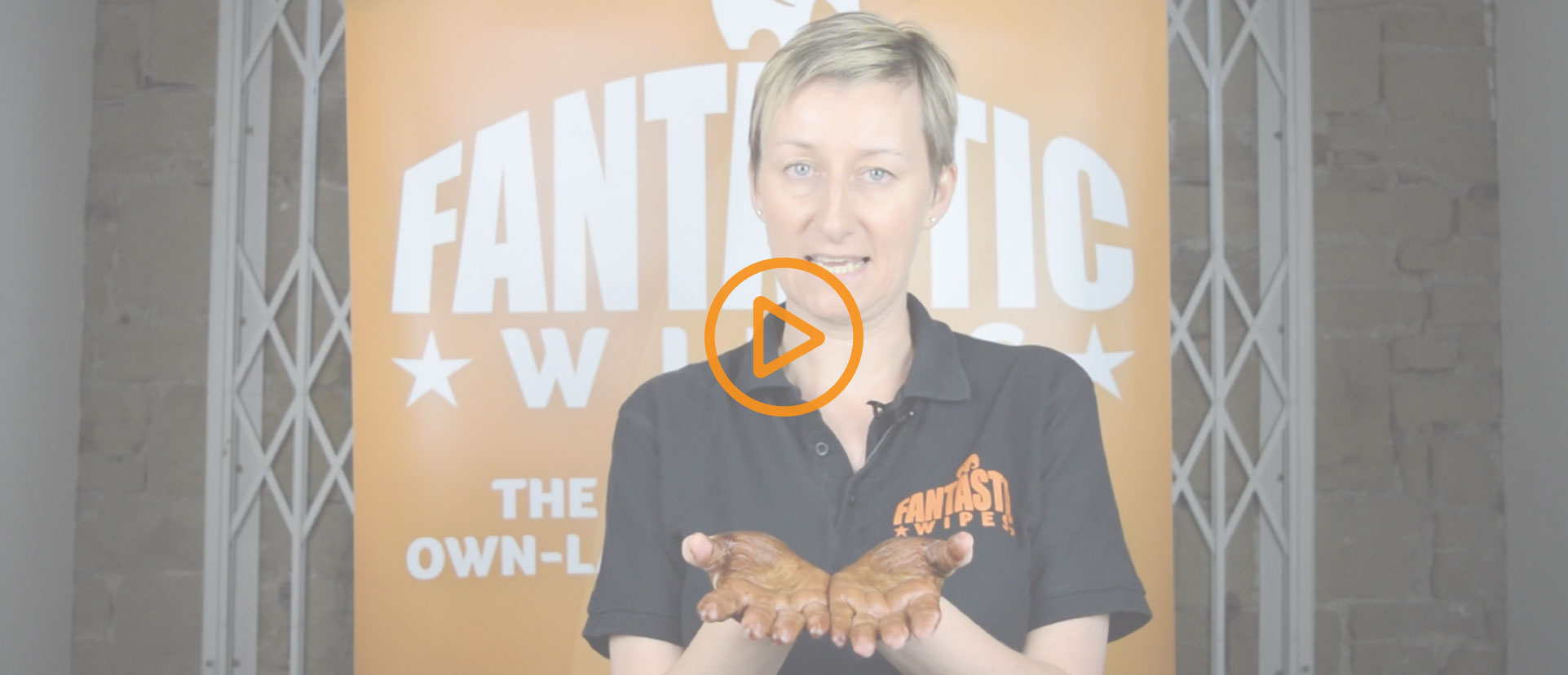 Wipe Demonstration Video Slider Banner with Orange Play Button